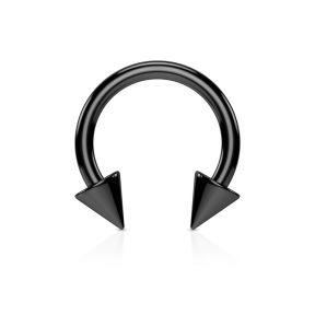 Серьга-циркуляр с шипами черная