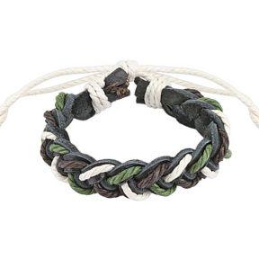 Кожаный плетеный браслет на руку Spikes
