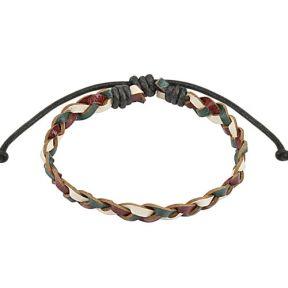 Кожаный женский плетеный браслет Spikes