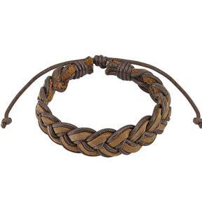 Кожаный плетеный браслет косичка Spikes
