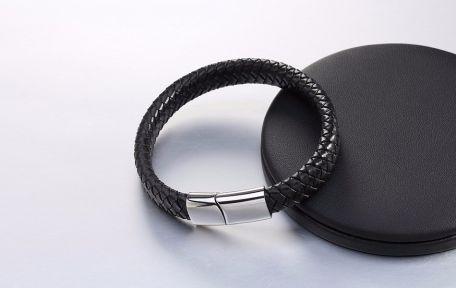 Кожаный браслет с магнитным замком