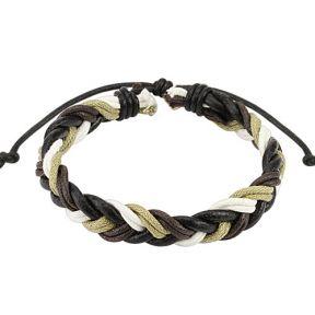 Кожаный плетеный браслет черно-белый Spikes