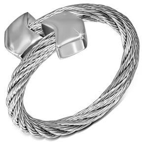 Женское серебристое кольцо-струна 316 Steel