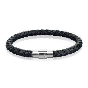 Кожаный плетеный браслет с магнитным замком 190 мм.