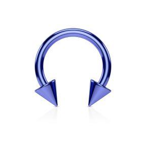Серьга-циркуляр с шипами синяя