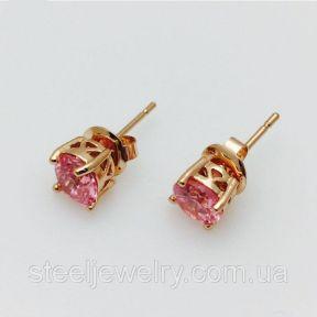 Серьги гвоздики женские с розовым камнем Fallon Jewelry