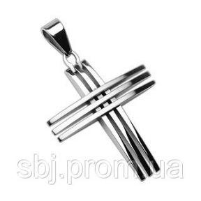 Кулон тройной крест из нержавеющей стали Spikes