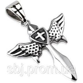 Кулон крылатый меч из нержавеющей стали Spikes