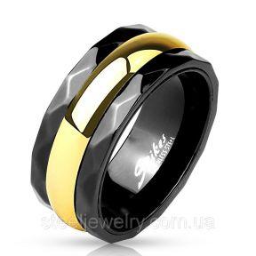 Кольцо нержавеющая сталь черное с золотой полосой Spikes