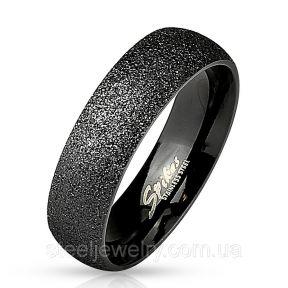 Обручальное кольцо из нержавеющей стали песочное черное 316L Spikes (США)