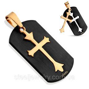Кулон золотой крест на черном Spikes