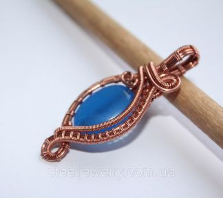 Кулон с камнем синий нефрит