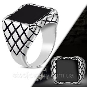 Байкерский перстень квадратный оникс 316