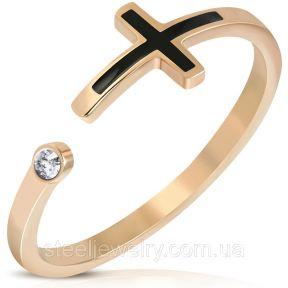 Женское кольцо с крестиком и фианитом 316