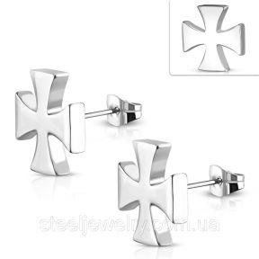 Серьги гвоздики железный крест 316