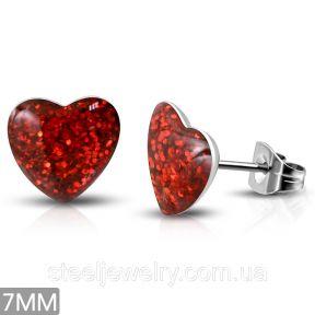 Серьги гвоздики с красным сердечком 316