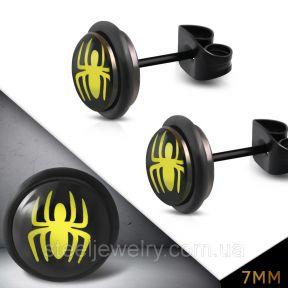 Серьги гвоздики с пауком 316