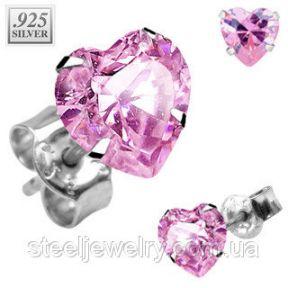 Серьги сердечки с розовым фианитом Spikes
