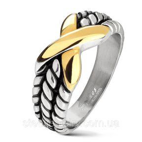 Байкерское кольцо с золотым крестом Spikes SR6440
