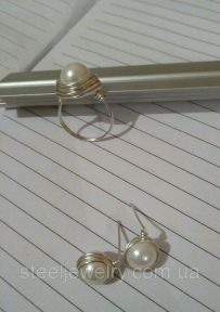 Кольцо и серьги с перламутром