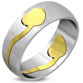 Женское кольцо с позолоченной вставкой сердечко 316 steel