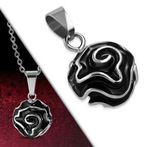 Кулон черная роза 316 Steel