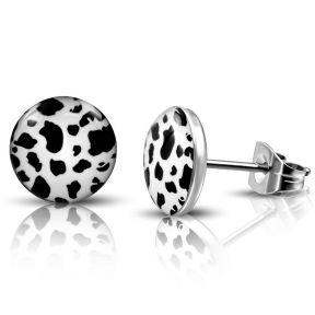Серьги гвоздики черно-белый леопард 316 Steel