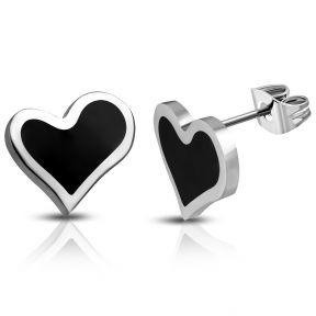 Серьги гвоздики черно-белые сердечки 316 Steel