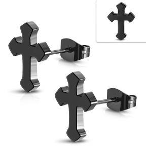 Серьги гвоздики черный крест с 316 Steel