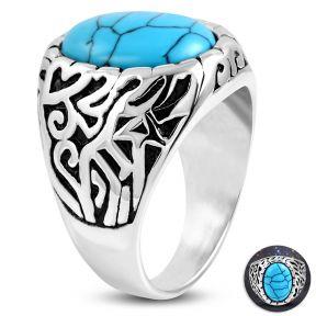 Коктейльное кольцо с бирюзой 316 Steel