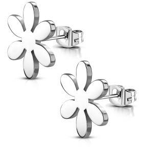 Серьги гвоздики стальной цветок 316 Steel