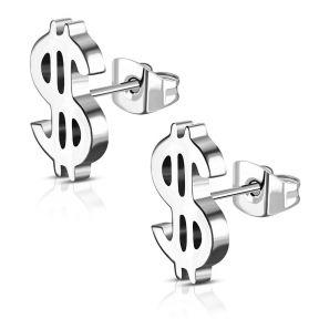 Серьги гвоздики доллар 316 Steel