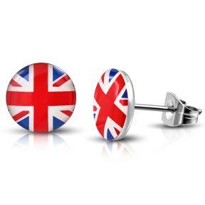 Серьги гвоздики британский флаг 316 Steel