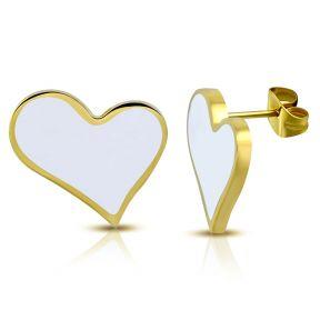 Серьги гвоздики золотисто-белые сердечки 316 Steel