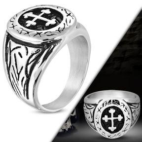 Байкерский перстень проростающий крест 316 Steel