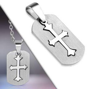 Кулон-пазл серебристый крест 316 Steel