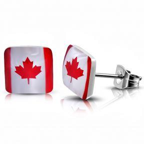 Серьги гвоздики флаг канады 316 Steel