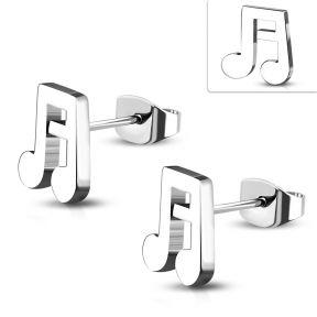 Серьги гвоздики музыкальные ноты 316 Steel
