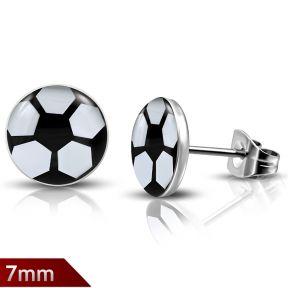 Серьги гвоздики футбольный мяч 316 Steel
