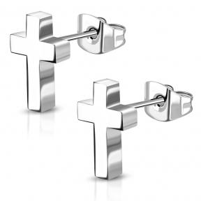 Серьги гвоздики стальной крест 316 Steel