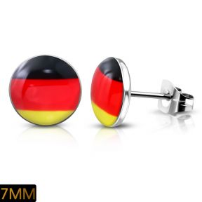 Серьги гвоздики флаг германии 316 Steel