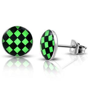 Серьги гвоздики черно-зеленая клетка 316 Steel