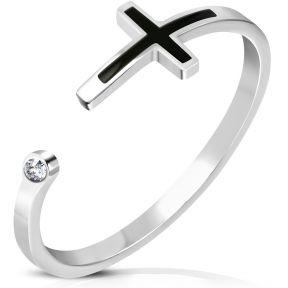 Женское кольцо с крестиком и фианитом 316 Steel