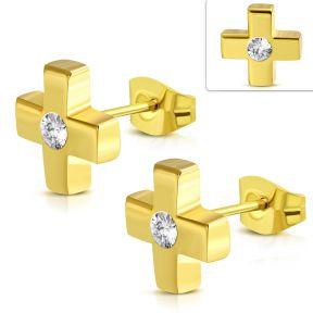 Серьги гвоздики золотой крест с фианитом 316 Steel